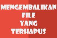 Cara Mengembalikan File Flashdisk Yang Terhapus atau Hilang