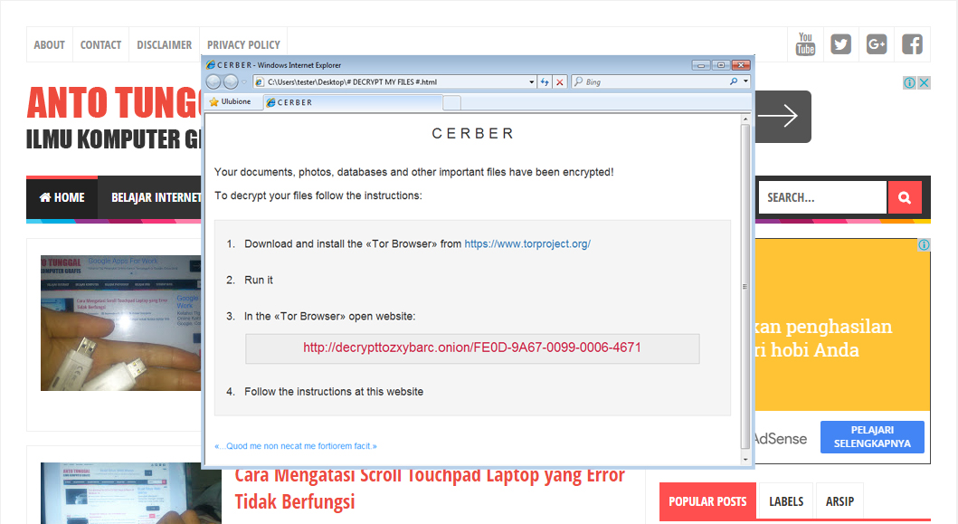 Cara Mengatasi Virus Ransomware Cerber