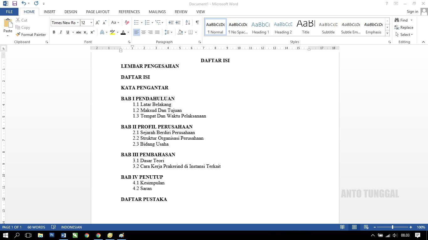 Cara Membuat Daftar Isi dengan Titik-Titik untuk Laporan Prakerin