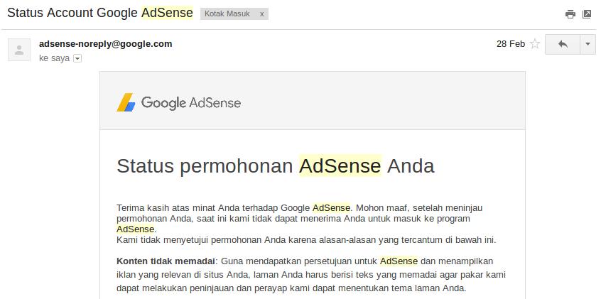 Pengalaman Diterima AdSense Full Approve Non Hosted