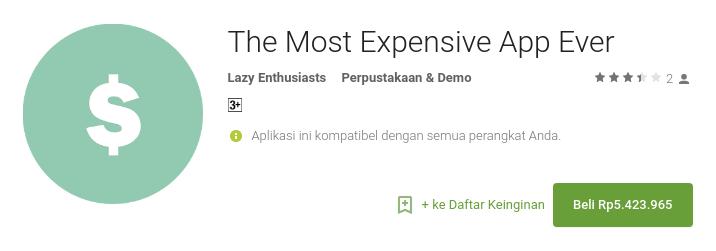 Aplikasi Android Termahal di Google Play Store Harga 5 Juta Lebih