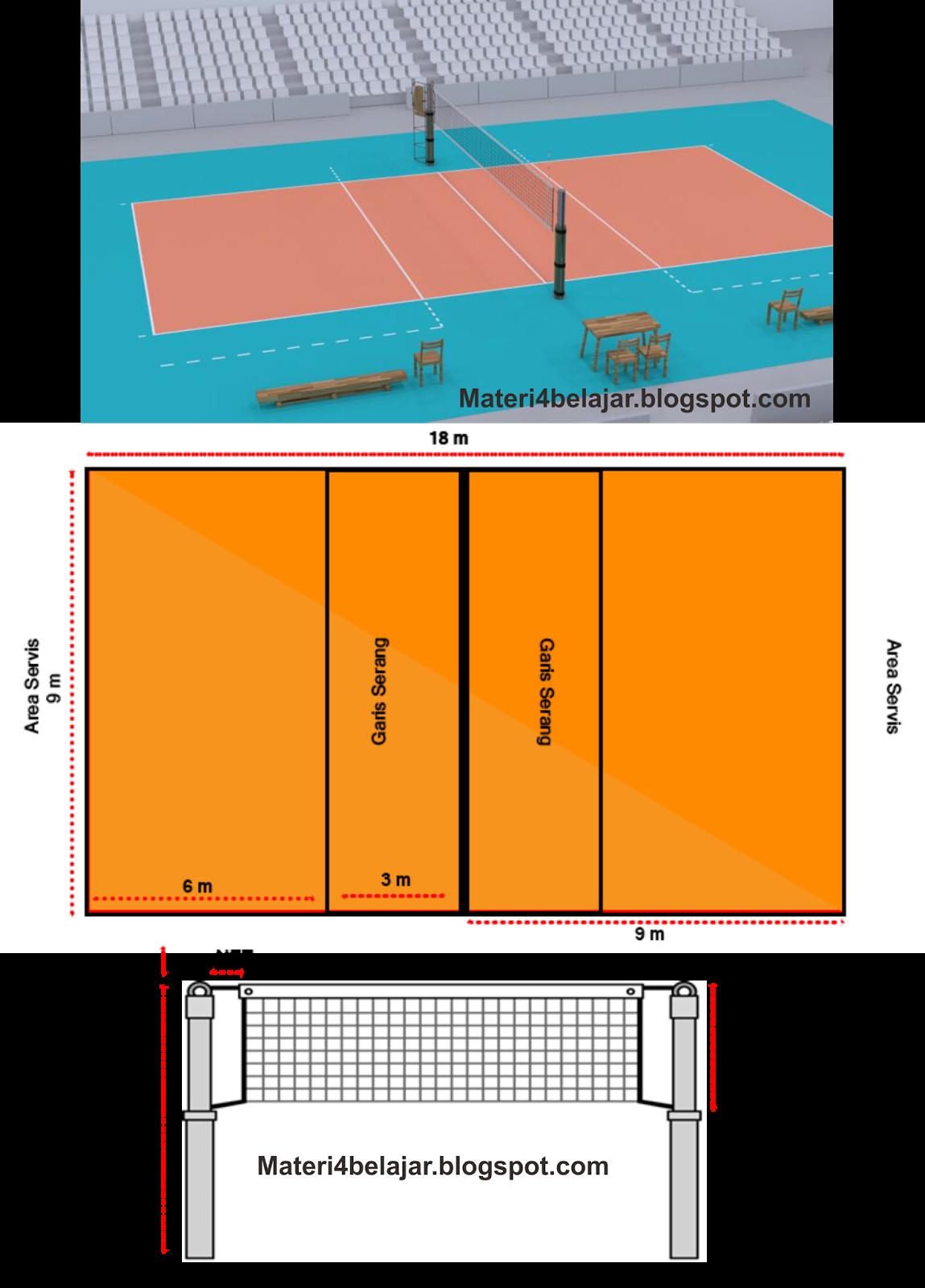 Gambar Dan Ukuran Lapangan Bola Voli Standar Nasional Internasional Anto Tunggal