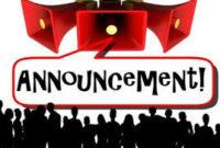 10+ Contoh Pengumuman Bahasa Inggris (Announcement) Beserta Artinya