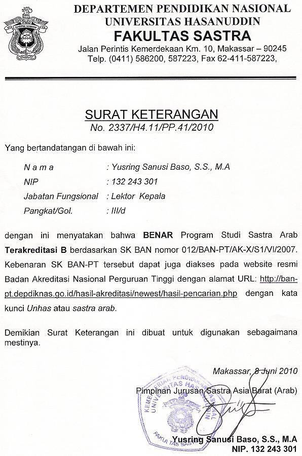 4 Contoh Surat Keterangan Akreditasi dari BAN PT